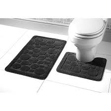 goldstar 2 piece bubbles cali bath mat and pedestal mat set non slip absorbable toilet bathroom rug black b0728gv6kv 500x500 jpg