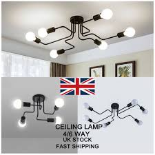 details about 4 6 way industrial style ceiling lights modern bathroom retro metal pendant lamp