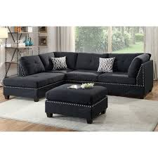 black 3pc sectional and ottoman set f6974