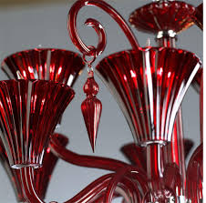 andretti red glass murano style chandelier