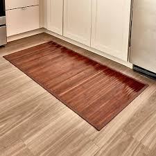 bamboo floor mat bathroom rug wood natural mocha non skid home decor 24
