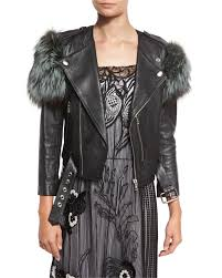 marc jacobsfox fur trim leather jacket black