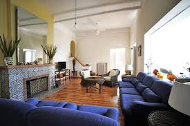 image of royal blue living room sets