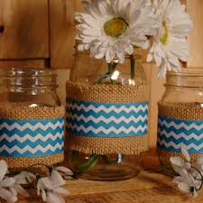 Chevron set of 3 Mason Jars decorated with Chevron ribbon and burlap