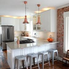 kitchen nook ikea and backless stools with brick accent walls also pendant lighting and white kitchen