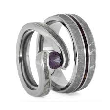 matching wedding band sets for his and her. gibeon meteorite wedding ring set, alexandrite engagement and purple pinstriped band-2402 matching band sets for his her