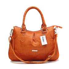Coach Madison Embossed Medium Orange Satchels DEL