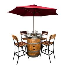 wine barrel outdoor furniture. Sonoma Outdoor Patio Set Wine Barrel Furniture Tall Bistro Table And Chairs