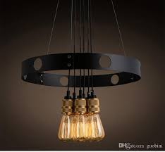 edison bulb chandelier iron circle creative chandelier retro restaurant cafe chandelier lighting at home silver pendant light from guobini 220 82 dhgate