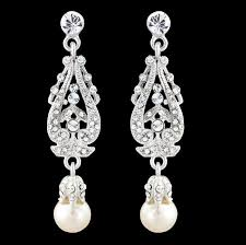 bridal vintage chandelier pearl earrings dangle vintage cz earrings crystal pearl bridal starlet earrings long drop earrings 2