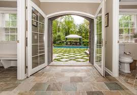 open french doors. open french to pool with decoration white doors