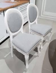 2er Set Esszimmerstuhl Stuhl Küchenstuhl Polsterstuhl Weiß Grau