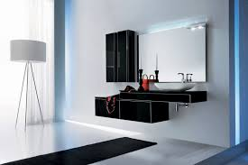 modern bathroom vanities for less. Two Thin Black Modern Bathroom Wall Cabinet Near Large Fremeless Mirror Above Mounted Vanity Vanities For Less I