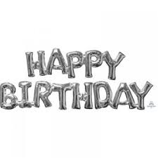 Happy Birthday Balloons Banner Buy Happy Birthday Silver Balloon Banner The Party Parlour