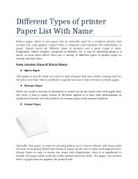 Different Types of printer Paper List With Name Printer paper refers to any  paper that is ...
