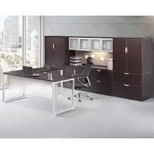 modern l shaped desk with executive hutch cabinets set bridgecreek office