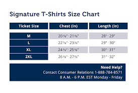 Mens Signature T Shirt Size Chart
