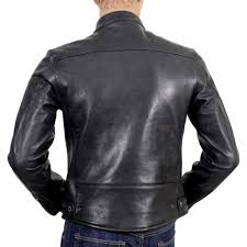 rmc jeans black kid leather zipped biker jacket with nehru collar