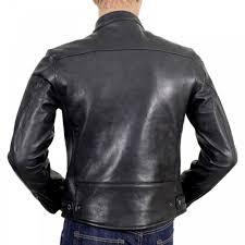 rmc jeans black kid leather zipped biker jacket with nehru collar