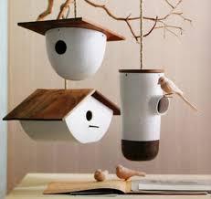 image of contemporary miniature bird houses
