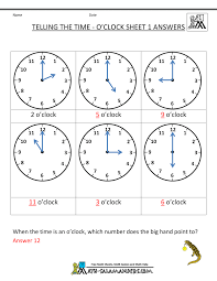 Telling Time Worksheets - O'clock and Half pastTelling the Time - O'clock Sheet 1 · Sheet 1 Answers