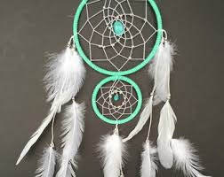 Double Dream Catchers Dream Catcher with Double Ring Turquoise and Red Stones 88