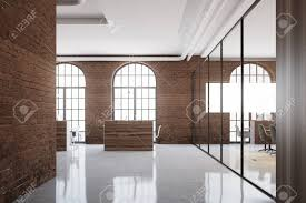 open office cubicles. Brick Open Space Office Interior With Arch Windows, A Concrete Floor And Cubicles. 3d Cubicles