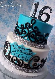 Aqua White Black Tier Cake Sweet 16 Yummy Cake Designs Sweet 16