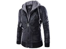 tide double layer hooded zipper mens leather jacket