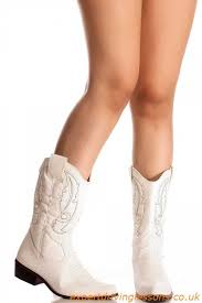 boots white faux leather stitched pointed toe knee cowboy boots