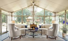 Home Interiors:Warm Cream Sunroom Interior Design With Great Seating And  Fireplace Decor Ideas Smart