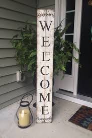 1 tall wooden entryway welcome sign