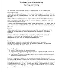 restaurant form f 057 food server job description