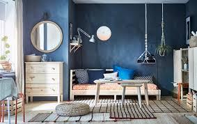 ikea furniture bed. Bold Design Ikea Furniture Bedroom Ideas IKEA Scandinavian Modern Studio Apartment With Dark Blue Walls And Bed