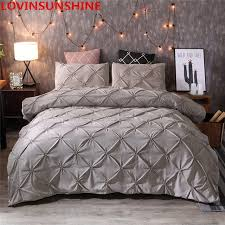 grey duvet cover set pinch pleat 2 3pcs twin full queen king size bedclothes bedding sets no filling no sheet pinch pleat bed pczy14771
