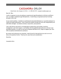 Legal Receptionist Cover Letter Example