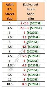 Bloch Pointe Shoe Size Chart 60 Always Up To Date Bloch Width Chart