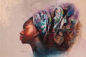 nigerian artist creates realistic oil portraits incorporating colorful local fabrics