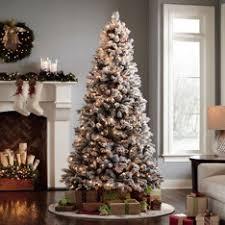 45ft Flocked Slim Sierra Artificial Christmas Tree With Clear Slim Flocked Christmas Trees Artificial
