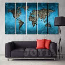 large wall paintingsAliexpresscom  Buy World Map Canvas Art Prints 5 Panel Large