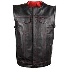 vance leathers men s concealed carry black leather vest