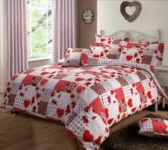 red colour hearts patchwork design reversible bedding duvet quilt cover set