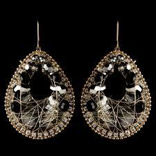 gold smoke black beaded rhinestone hand made fashion chandelier earrings 82038