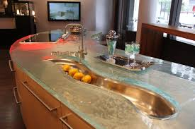impressive sink design under tiny faucet on big types of kitchen countertops on calm floor color