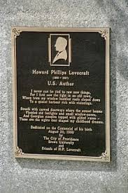 h p lovecraft  h p lovecraft memorial plaque at 22 prospect street in providence