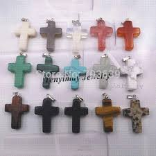 whole mixed semi precious stone cross pendant for necklace real natural stone pendant whole pendants pendants unique jewelry best friend
