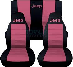 jeep wrangler black and sweet pink jeep logo seat covers
