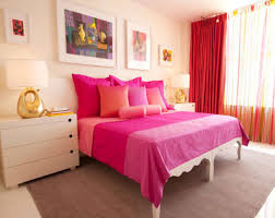 furniture for young adults. Bedroom Ideas For Young Adults With Girly Theme: Magenta Bed Sheet Modern Paintings Red Curtain. « Furniture S