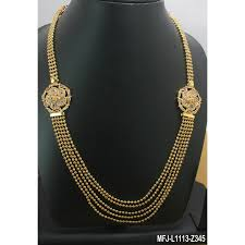gold plated finish 3 5 lines design chain with cz ruby stones peacock