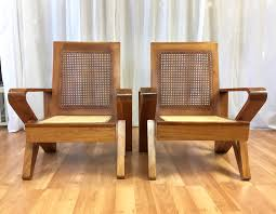 wood lounge chairs. Uncommon Pair Of Hawaiian Koa Wood And Woven Cane Lounge Chairs - Past Perfect D